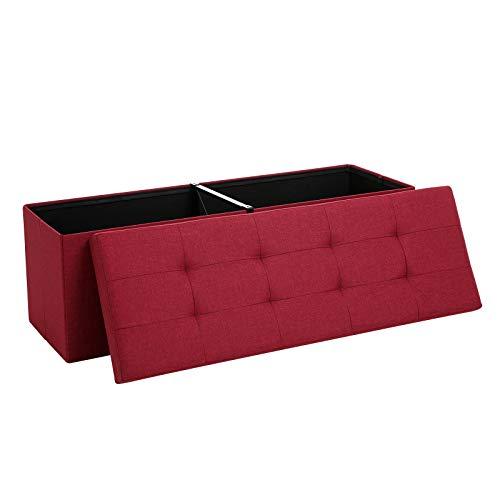 SONGMICS Sitzbank mit Stauraum, Sitztruhe, Aufbewahrungsbox, faltbar, max. statische Belastbarkeit 300 kg, mit Trenngitter aus Metall, 120 L, 110 x 38 x 38 cm, Leinenimitat, rot LSF77RD