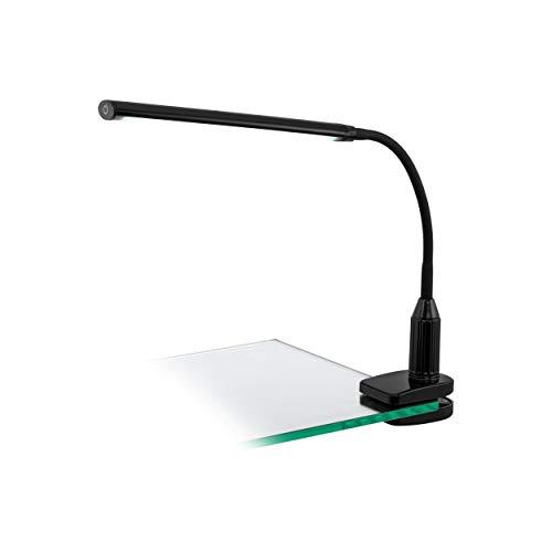 Eglo Lampe à pince Plastique, intégré, noir, 45 x 6,5 x 27,5 cm