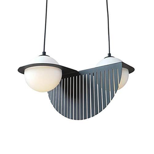 Pointhx Lámpara colgante de vidrio redondo de doble cabeza Creatividad Nordic E14 Lámpara de techo de 2 luces Decoración semicircular de hierro forjado Lámpara colgante Escalera Pasillo Iluminación de