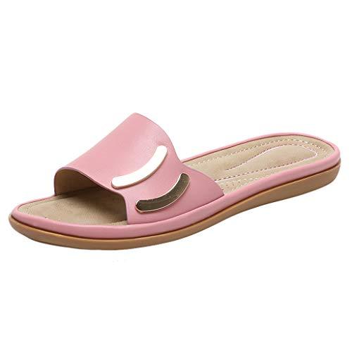Damen Hausschuhe Summer Strandsandalen Elegante Badeschuhe Duschschuhe Slipper Sandalen mit Flache Absatz Freizeitschuhe Damenschuhe, Rosa, 36 EU
