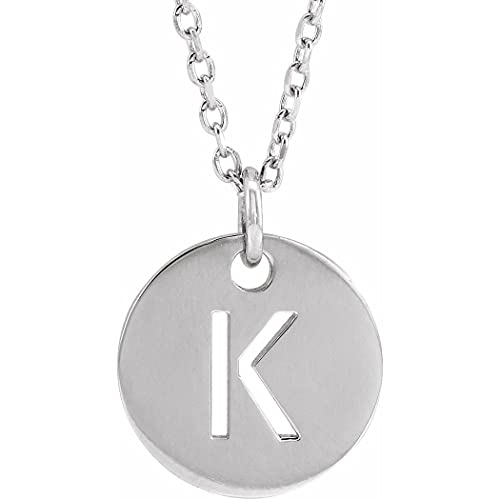Collar de plata de ley 925 con letra personalizada, monograma inicial K, 10 mm, 16 pulidos, con inicial, joyería de regalo para mujer, 46 cm