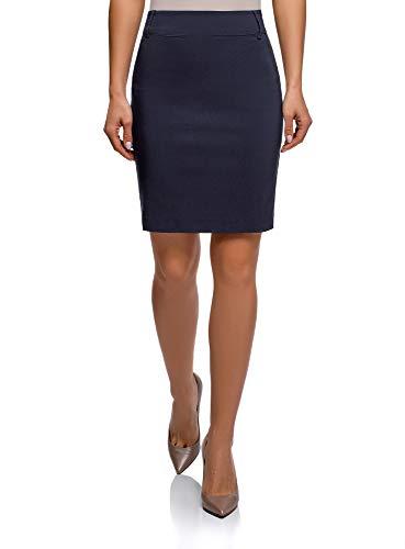 oodji Ultra Mujer Elegante Falda de Tubo Stretch Recta de Vestir, Azul, ES 34 / XXS