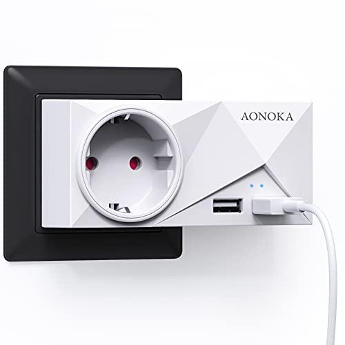 Enchufe USB Pared, AONOKA Ladron Enchufe Multiple con 4 USB (2.4A) y 4 Tomas de CA, Cargador USB con Doble Estantería (Retirable),Enchufe Pared Usado para Baño,Sala o Habitación.Blanco (Enchufe)