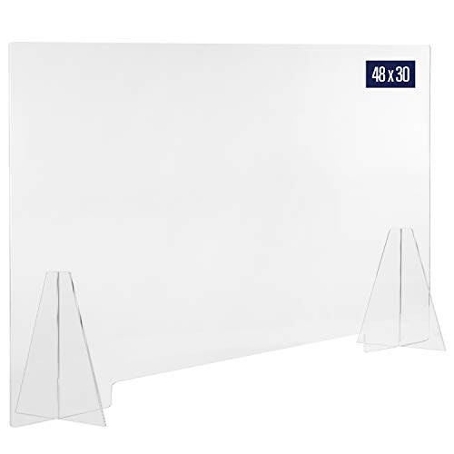 Sneeze Guard Acrylic Shield Barrier - 48'W x 30'H Durable Plastic Shield for Desktop or Counter. Self Standing Protection for Workplace to Shield Coughs, Sneezes, Saliva, Breath, and Contact Exposure