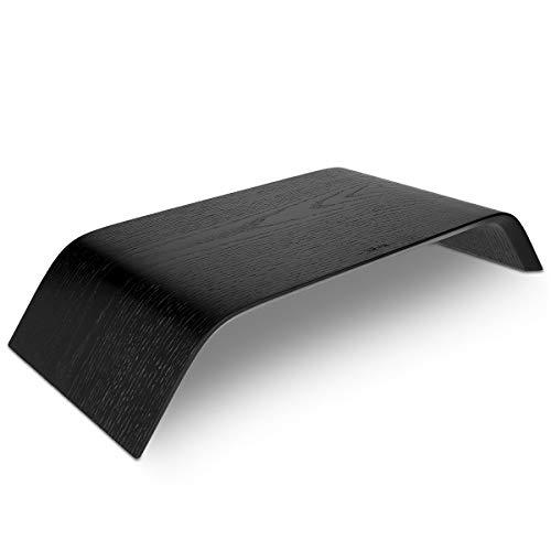 kalibri Bildschirm Holzständer TV Ständer - Computer Tisch Schreibtisch Aufsatz Monitorständer Bank - Schreibtischaufsatz aus Eichenholz in Schwarz