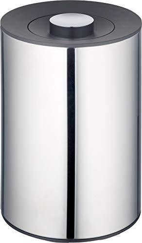 KEUCO Abfall-Behälter aus Edelstahl poliert, 5 Liter, Wandmontage, ø21cm, H:28,8cm, für Badezimmer als Kosmetikeimer, Mülleimer, Abfalleimer, Plan