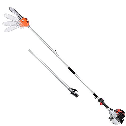 MAXTRA 90-180 Degree Head Adjustable Pole Chainsaw for Tree Trimming with 10 inch Cutting Bar 3.6ft Extension for a 15ft Reach Gas Cordless Pole Saw (New Mold)