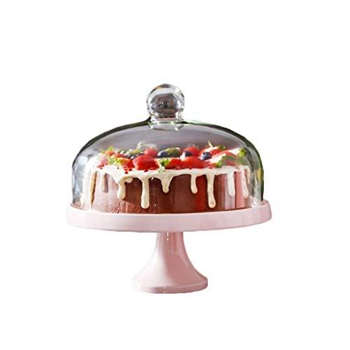 SZQ-Cloches à Fromage Support Rose Cake, Dessert Accueil Table Porcelaine Plateau de Service Bar Pâtisserie de dégustation Plateau en Verre Dust Cover Fruit Sandwich Steak Dome Stand de gâteaux