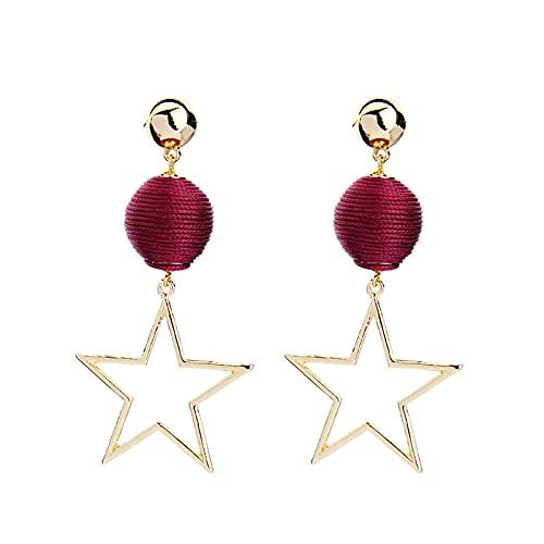 Nuevos pendientes colgantes de estrella vintage para mujer, regalos, línea roja oscura, pendientes de bola, joyería de moda, joyería clásica de moda clásica, joyería exquisita, regalos para fiestas