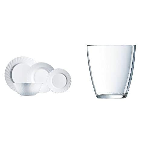 Luminarc Vajilla de Vidrio Opal Extra Resistente para 6 Personas, 19 Piezas, 100% higiénico, con ensaladera, Acero Inoxidable, Blanco + Vasos, Set de 6