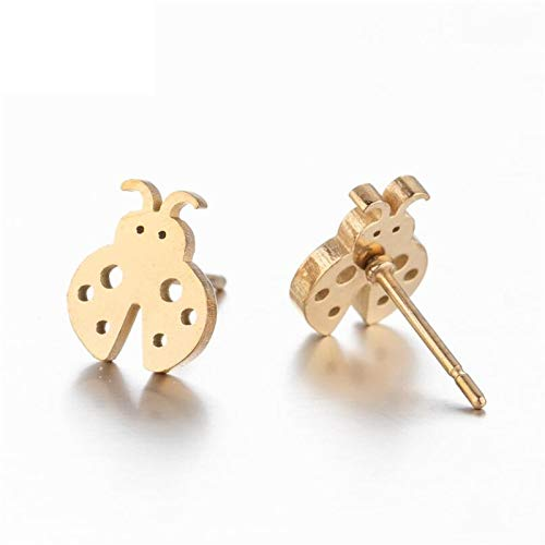 2 Pairs Cartoon Animal Earrings For Women Kids Fashion Stainless Steel Insect Ladybug Stud Earrings Studs
