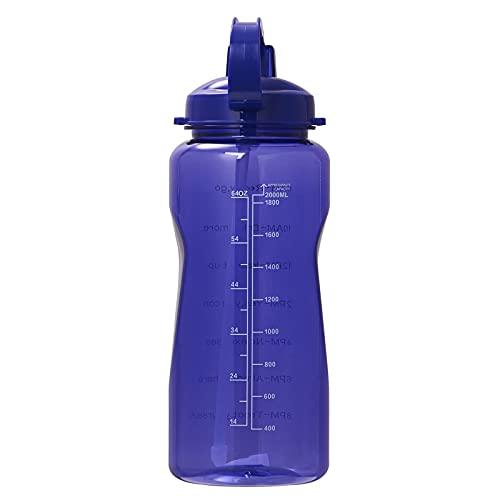 QAZW Botella de Agua Tritan de 2 litros con Pajita 100% Libre de BPA/No Tóxico, Botella de Agua Medida de 2000 Ml con Marcador de Tiempo, Jarra de Agua de 2 L,Blue-3.8L