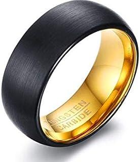 خاتم رجالي مصنوع من الداخل باللون الأسود ومقاس 10