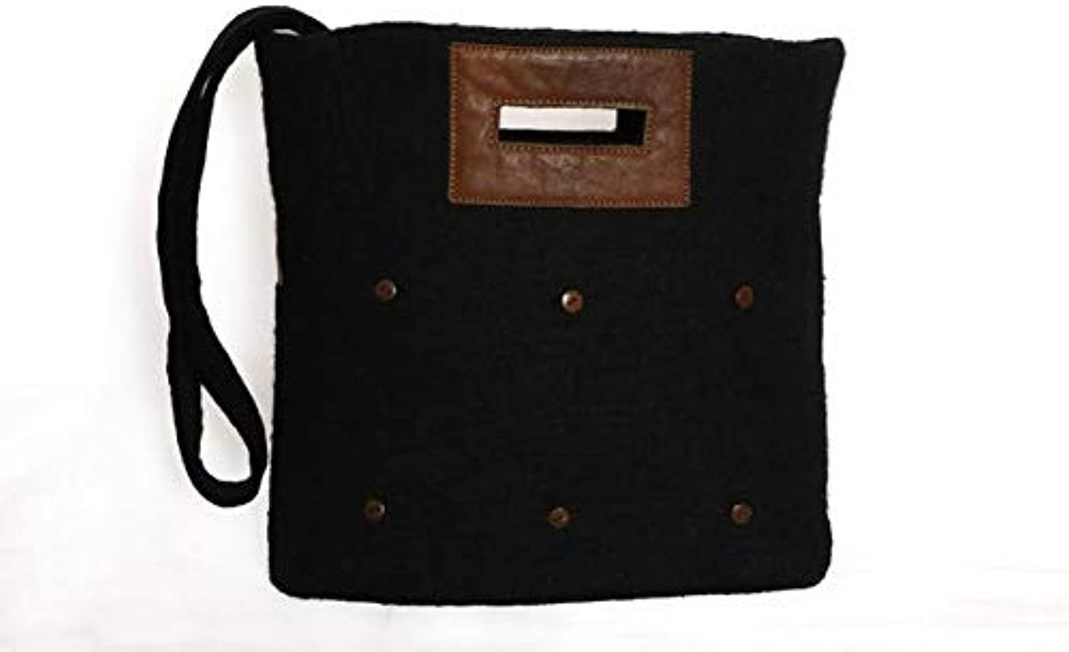 Fibres of Life Tote Bag w Buttons Black