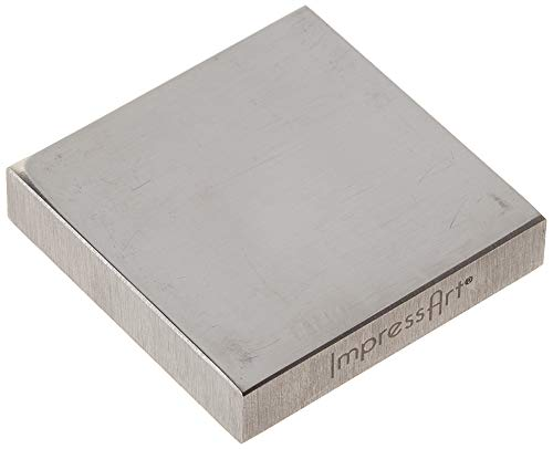 ImpressArt, Solid Steel Bench Block w/ Rubber Feet, 2' X 2', Jewelers Bench Block for Stamping, Shaping, Chasing, & Flattening Metals