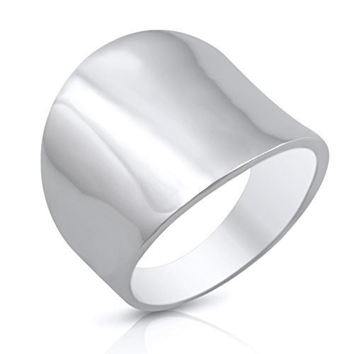 Sterling Silver 19mm Plain Wide Cigar Band Ring - Size 9