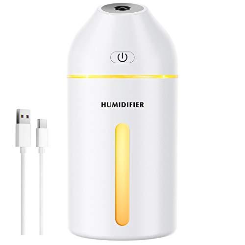 Homasy 320mL Luftbefeuchter,Mini-Luftbefeuchter mit Warmes Licht, USB Luftbefeuchter für Baby Schlafzimmer ,19 dB 2 Nebelmodi, bis zu 8 Stunden-Weiß