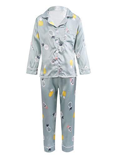 Kaerm Mädchen Schlafanzug Langarm Button Down Pyjama Set Mit Cartoon Ananas Druck Satin Lang Nachtwäsche Set Klassische Loungewear Gr. 98-164 Grün 158-164