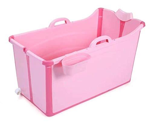 Bañera Plegable portátil para bebés Bañeras de hidromasaje para niñas Bañeras de hidromasaje Independientes Cubo de baño Bañera de inmersión para niños de 0-10 Hottubs (Rosa)