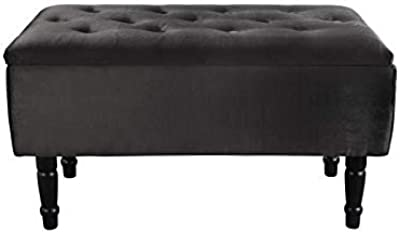 Banc avec Coffre de Rangement, Noir, 80cm x 40cm x 43.5cm