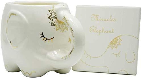 HUIQ Taza de café con Forma de Elefante Tazas de té de cerámica Blanca con diseños Impresos a Mano e Impresos Diciendo Gran Regalo Taza Grande Hecha a Mano con Posavasos