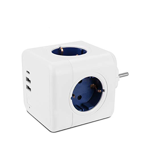 Furado USB Cube Steckdose Mehrfachstecker EU Adapter 7-in-1 Steckdosenadapter mit 3 USB Ladegerät Anschlüße 3.1A, 1 Typ-C Port 3A Blau