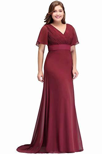 MisShow Abendkleid Lang A Linie Rückenfrei Kleider Für Mollige Frauen