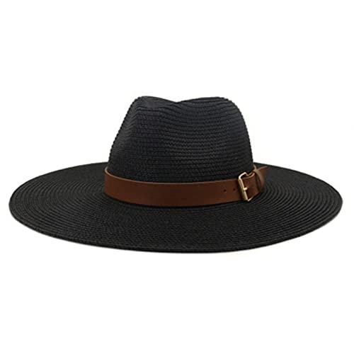 Sombreros de verano para mujeres, Solid Belt Band Big Brim Straw Sombreros, Casual Outdoor Beach Sun Protection Sun Sombreros