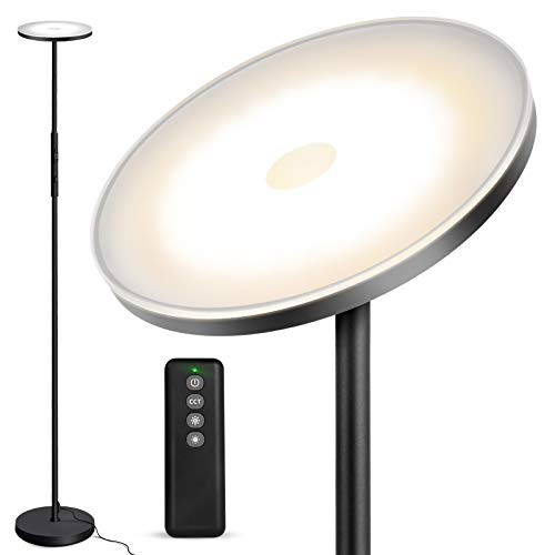 Outon Floor Lamp, 30W 2400LM LED Modern Torchiere Sky Lamp, Bright Standing Lamp with 3 Color Temperatures, Stepless Dimmer, Remote Touch Control, USB Port for Living Room Bedroom Office, Black