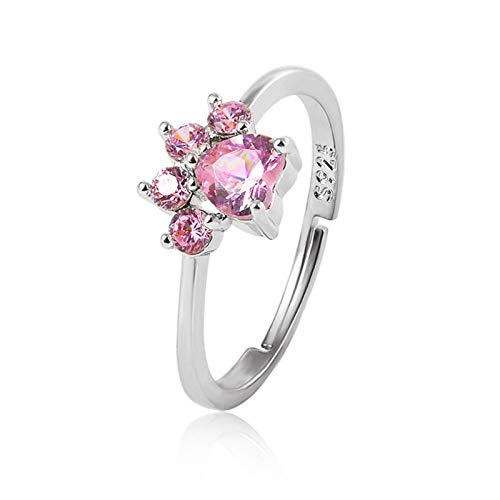 Damen-Ring 925 Sterling Silber, Personalisierte Damen Ringe mit Katzenpfote, Hochzeit Silberringe für Frauen, für sie und Geburtstagsgeschenk für sie und Mama, um Geschenke nach Maß