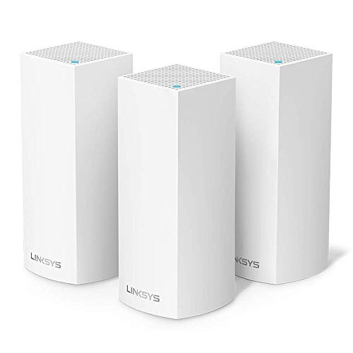 Linksys WHW0303 Velop Tri-Band Mesh-WLAN-System (AC2200 WLAN-Router/Extender für ein nahtloses WLAN von bis zu 525 m² ab, Kinderschutz, 3er-Pack, Weiß)