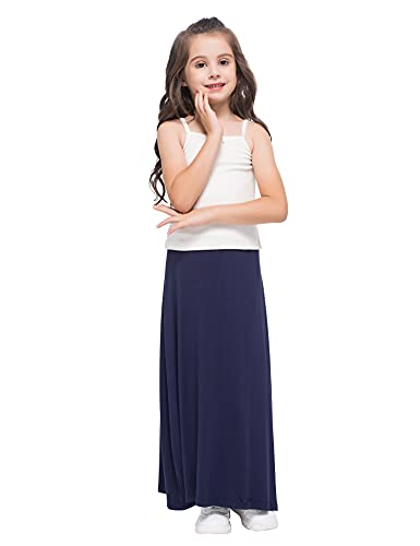GAZIAR Maxi Skirts for Girls Long Uniform Skirts for Kids Navy 7-8 Years