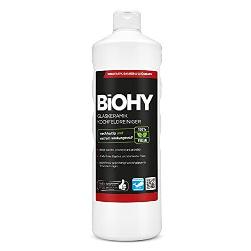 BiOHY Detergente per piani cottura in vetroceramica (Bottiglia da 1l)   Ottimo per la pulizia e la cura del piano cottura e per l'induzione (Glaskeramik Kochfeldreiniger)
