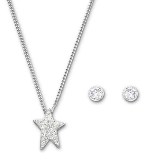 Swarovski Damen-Set Halskette + Ohrringe Flicker Star Kristall rodiniert 38.0 cm / 0.5 cm 5031325