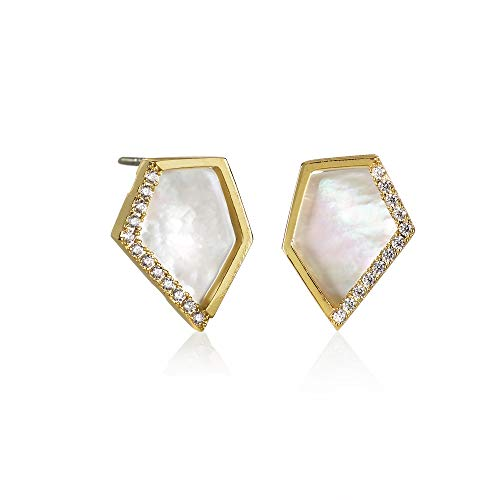 Namana Mother of Pearl Stud Earrings for Women. Dainty Gold Earrings with Created Mother of Pearls. Lead-Free and Nickel Free Earrings for Women