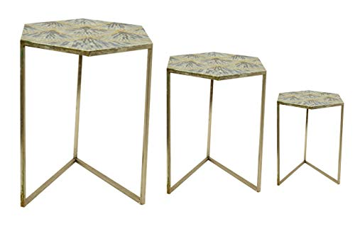 Buyer Bazaar's Metallic & Mosaic Hexagon Nest Of Tables 2 Nesting Tables Base Handcrafted From 100% Iron Modern Style Space Saving & Compact End Side Tables or Coffee Table
