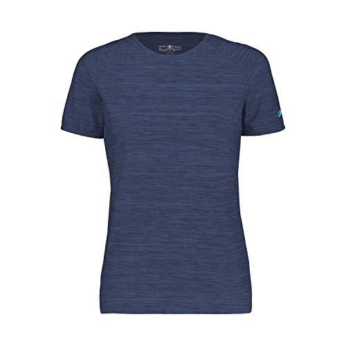 CMP – F.LLI Campagnolo Damen Elastisches Melange T-Shirt mit Sonnenschutz UPF 40, Blue Mel, D38