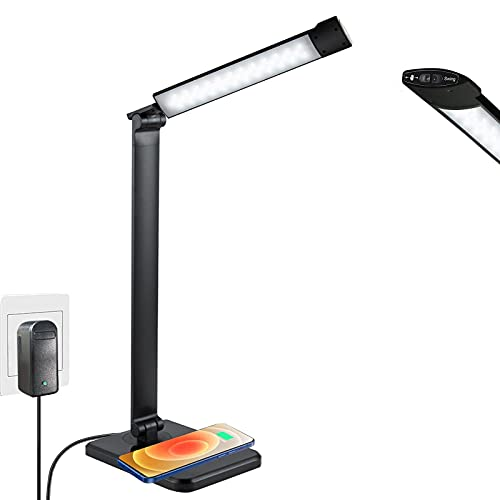 Lámpara Escritorio LED con Sensor, Larkotech Escritorio LED con Carga Inalámbrica, 3...