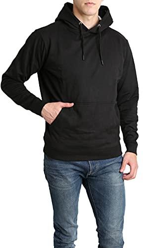 LOUNGEHERO Sweat à Capuche en Molleton Homme Manches Longues Respirant Coton Sweatshirt Hoody avec Poche Kangourou Large Noir