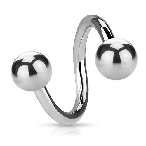 Piercing Spirale - Stahl - Silber - 1.2mm [08.] - 1.2 x 7 mm (Kugeln: 3mm)