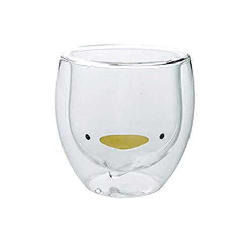 BigNoseDeer Taza de café Aislamiento de Doble Pared Vaso de Vasos Animal Lindo Té Leche Tazas Regalo Original para Navidad el Dia de Acción de Gracias Amigos (Pato)