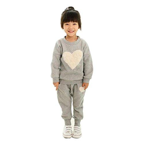 LMMVP Bébé Ensemble de Vêtements, 2 PCS Vêtements pour Enfants Manche Longue Impression du Coeur Survêtement + Harem Ensemble d'Ensembles de Pantalons (140(6-7T), Gris)