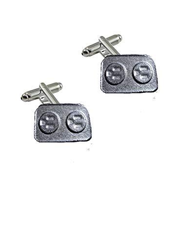 FT217 Manschettenknöpfe mit 2 Steckdosen, 2,8 x 1,8 cm, aus feinem englischen Zinn