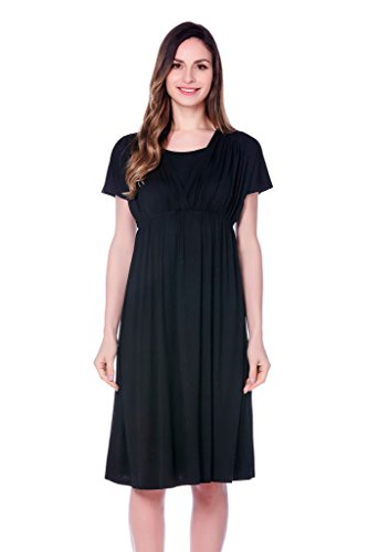 Product Image of the Bearsland Women's Long Style Maternity Breastfeeding Dress,Deep Blue,Large
