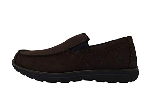 Timberland Men's Edgemont Moc Toe Nubuck Slip On Loafers Suede Shoes (8.5 D(M) US, Brown Slip On)
