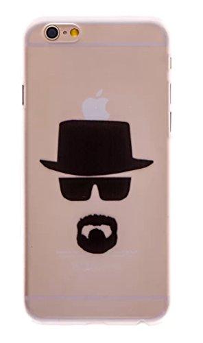 Phone Kandy Claro transparente Caso de Shell duro de la piel y la pantalla del protector para el iPhone de la historieta carcasa funda (iPhone 7 Plus (5.5 pulgada), Heisenberg)