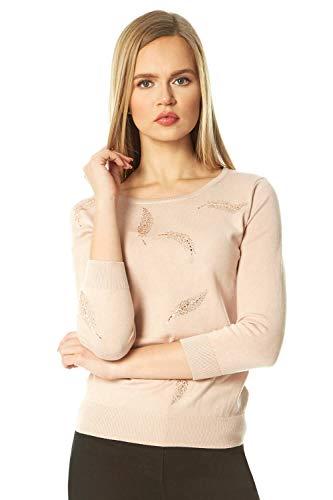 Roman Originals dames trui met lange mouwen en folieprint – dames trui, ronde hals, dagelijks gebruik, casual elegant, versiering, glitter