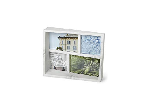 Umbra Edge Resin Multi-Opening Picture Frame and Photo Display for Table Top or Wall, 4x6-Inch and 4x4-Inch, White Marble