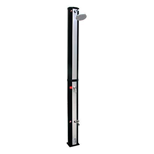 VIESTA VSS35FS - Ducha solar, color negro y plateado, con depósito de agua resistente a los rayos UV de 35 litros, con lavabo y alcachofa de ducha ajustable