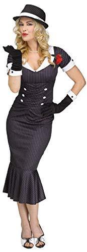Fancy Me Damen 1920s Jahre 20s Gangsterbraut Boss Mafia Babe Tv Film Kostüm Kleid Outfit - Nadelstreifen, UK 10-12